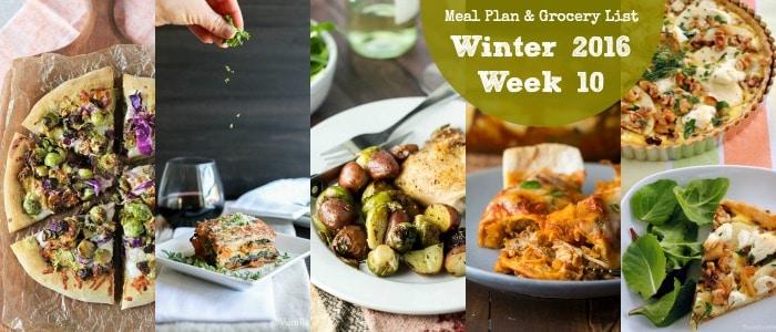 Winter 2016 Week 10 Meal Plan