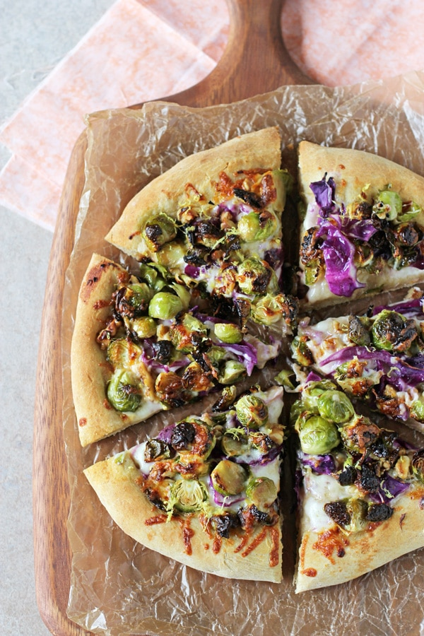 healthy-dinner-idea-Roasted_brussels_sprouts_red_cabbage_pizza