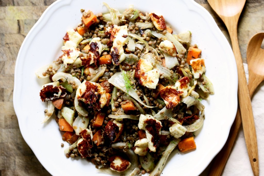 warm-lentils-with-fennel-and-halloumi-+-4-other-healthy-dinner-ideas-on-Rainbow-Delicious-weekly-meal-plan