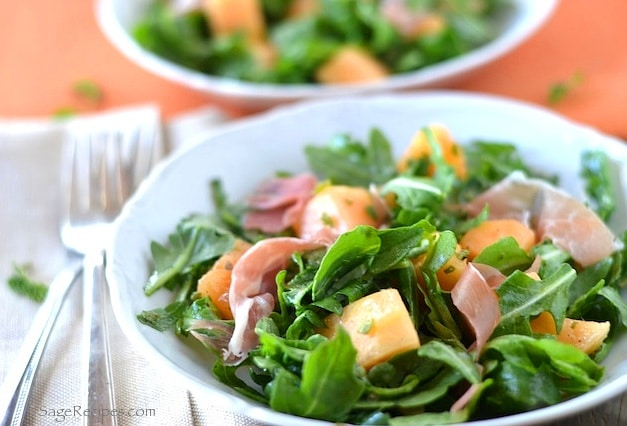 Cantaloupe, Prosciutto and Arugula Salad - Healthy Salad Recipes Meal Plan with Grocery List | Rainbow Delicious