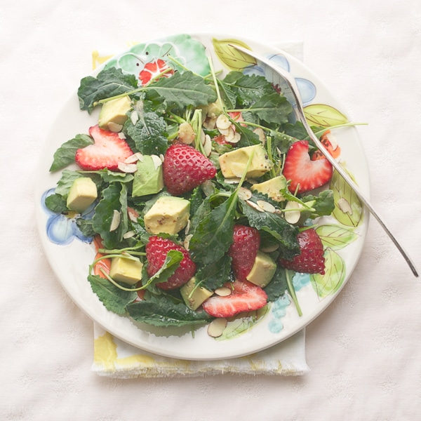 Kale Strawberry Avocado and Almond Salad - Healthy Salad Recipes Meal Plan | Rainbow Delicious