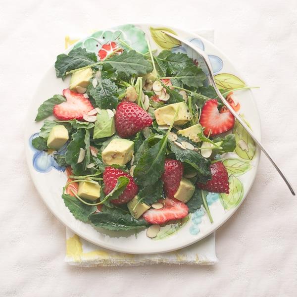 Kale Strawberry Avocado and Almond Salad - Healthy Salad Recipes Meal Plan | Rainbow Delicious