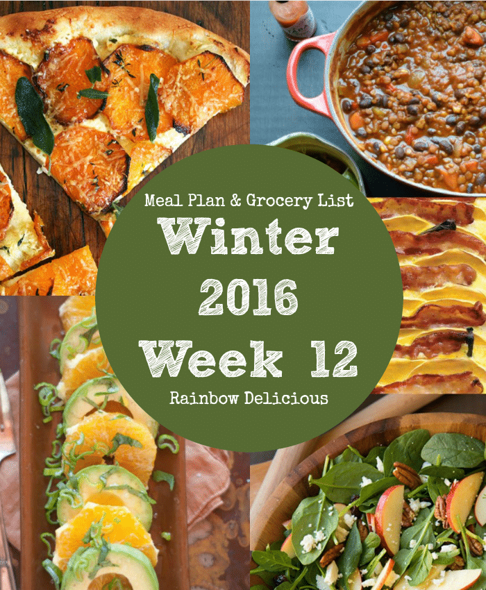 healthy dinner recipes: Winter 2016 Week 12 Rainbow Delicious Meal Plan