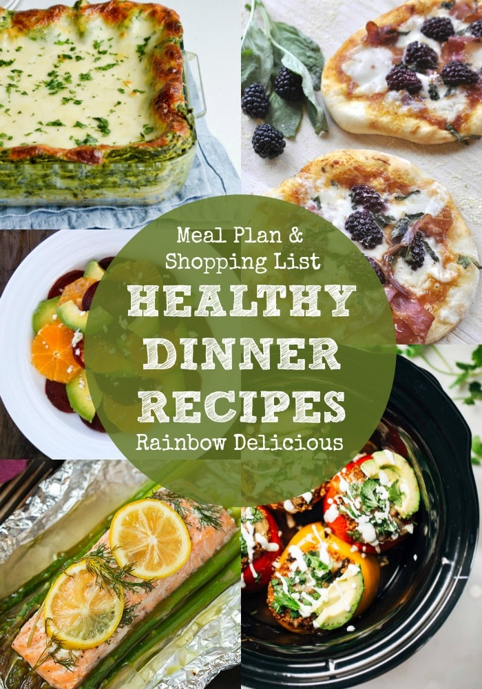 Healthy Dinner Recipes Meal Plan and Grocery List | Rainbow Delicious