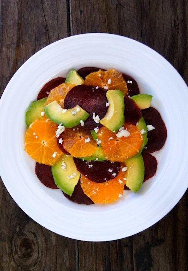 Healthy Dinner Recipes: beet, avocado and tangerine salad