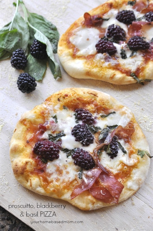 Healthy Dinner Recipes-Proscuitto, Blackberry and Basil Pizza