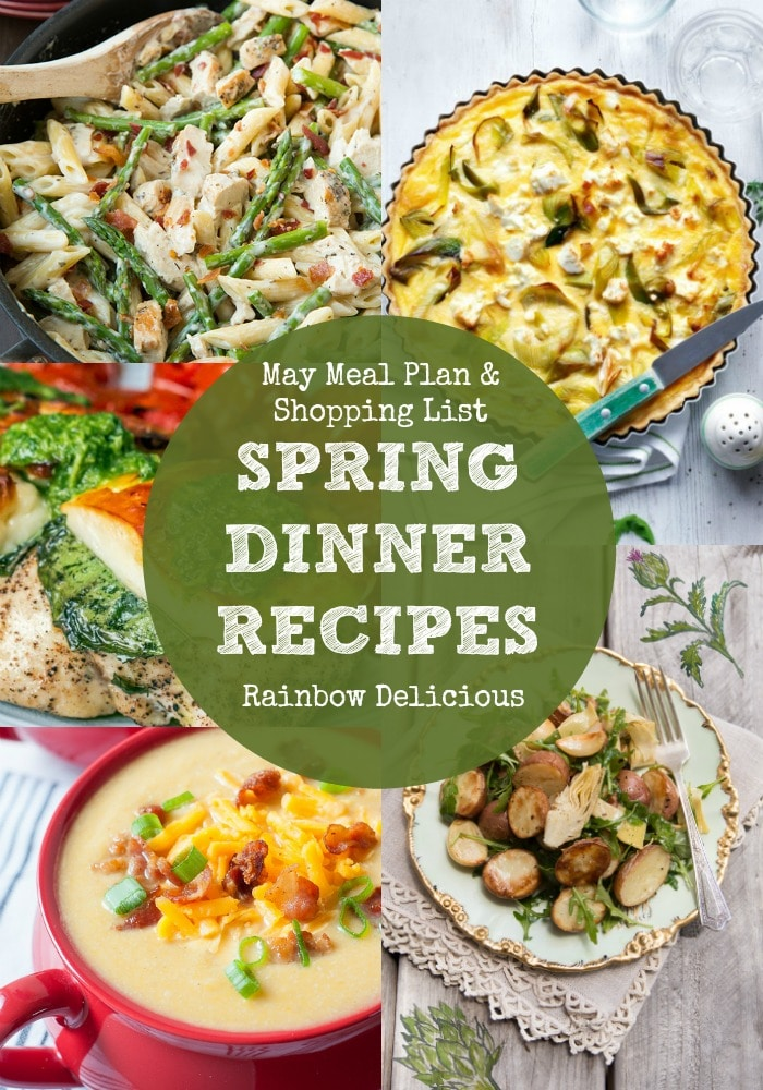 May Meal Plan & Shopping List SPRING DINNER RECIPES
