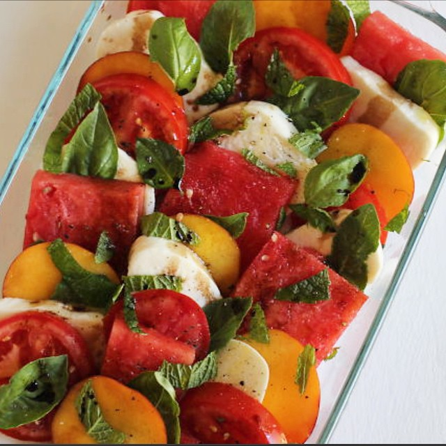 watermelon peach caprese