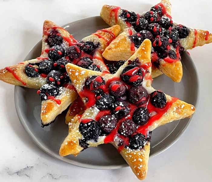 Blueberry Puff Pastry Stars - 4th of July Snacks