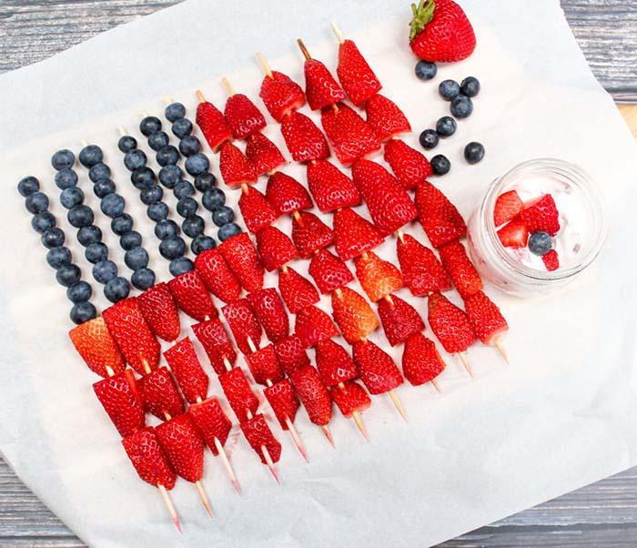 Easy Flag Fruit Kebabs- 4th of July Snacks