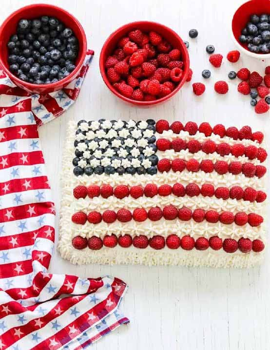 Flag Cake - 4th of July Snack Recipes