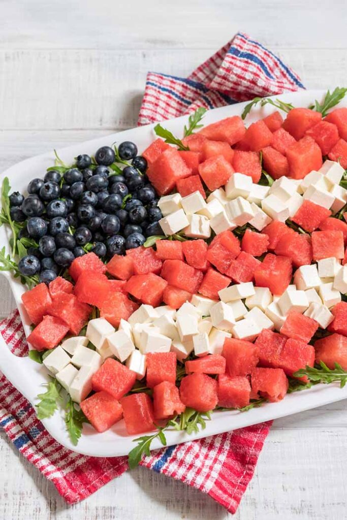 Patriotic American flag salad with blueberry, watermelon and fet