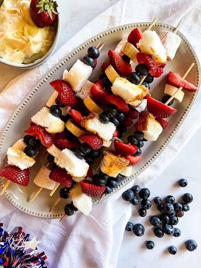 Patriotic Berry Skewers with Cream cheese - 4th of July Snacks