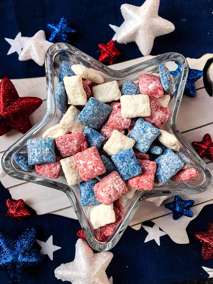 Patriotic Puppy Chow - 4th of July Snacks
