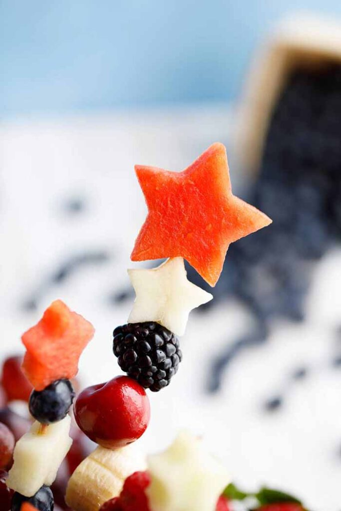 REd White and Blue Fruit Kebabs- 4th of July Snacks