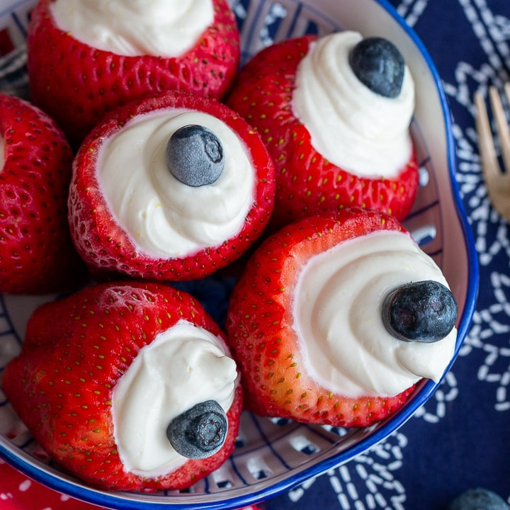 Strawberries with Cream Cheese - 4th of July Snacks