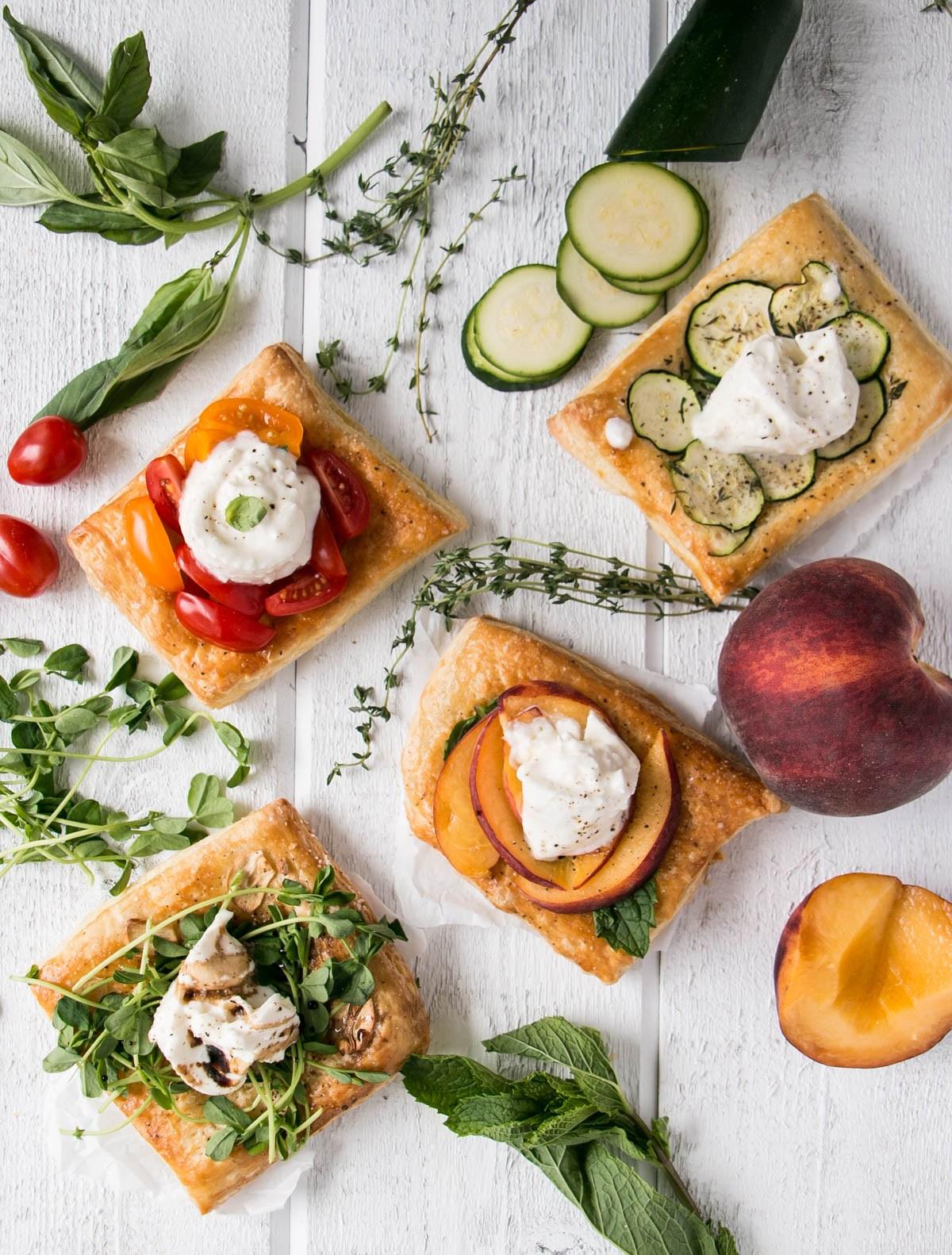 june recipes | burrata puffed pastry squares:jpg