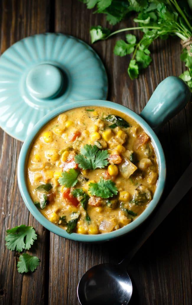 june recipes | cilantro and sweet corn soup