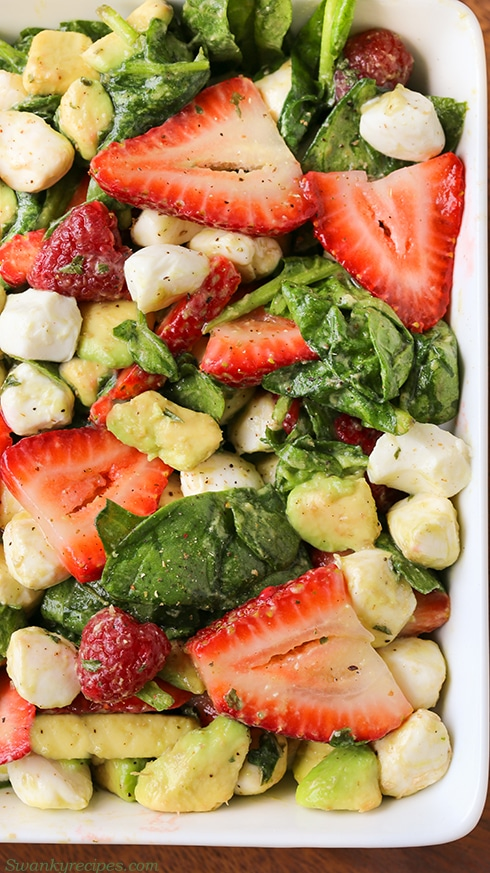 june recipes | strawberry avocado mozzarella salad