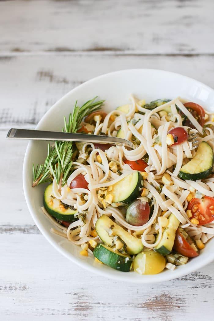 june recipes | summer vegetable linguine