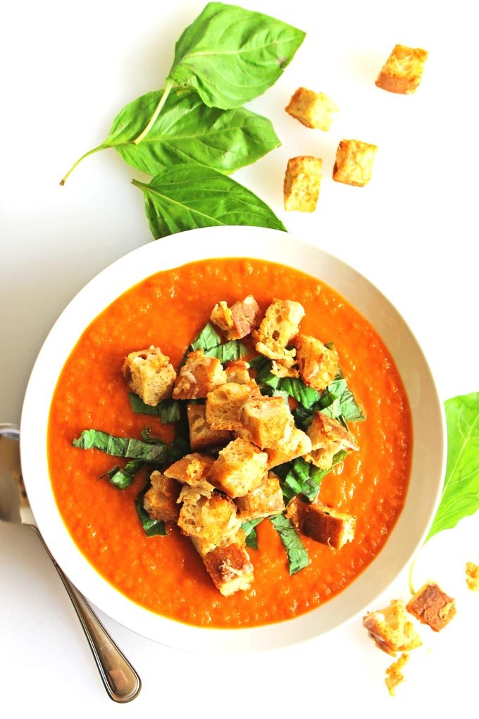 Healthy Summer Dinner Recipes - fresh tomato soup with gruyere croutons