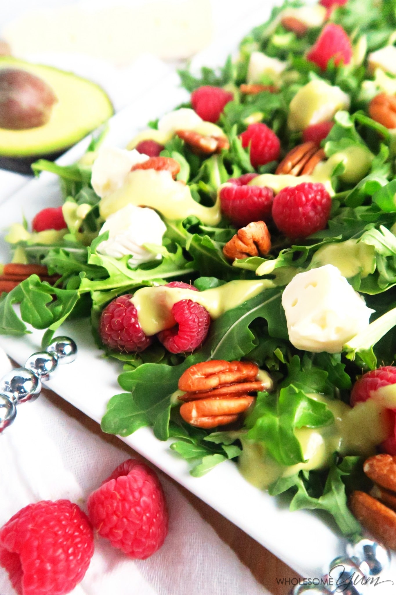 Healthy Summer Dinner Recipes - raspberry brie salad with avocado dressing