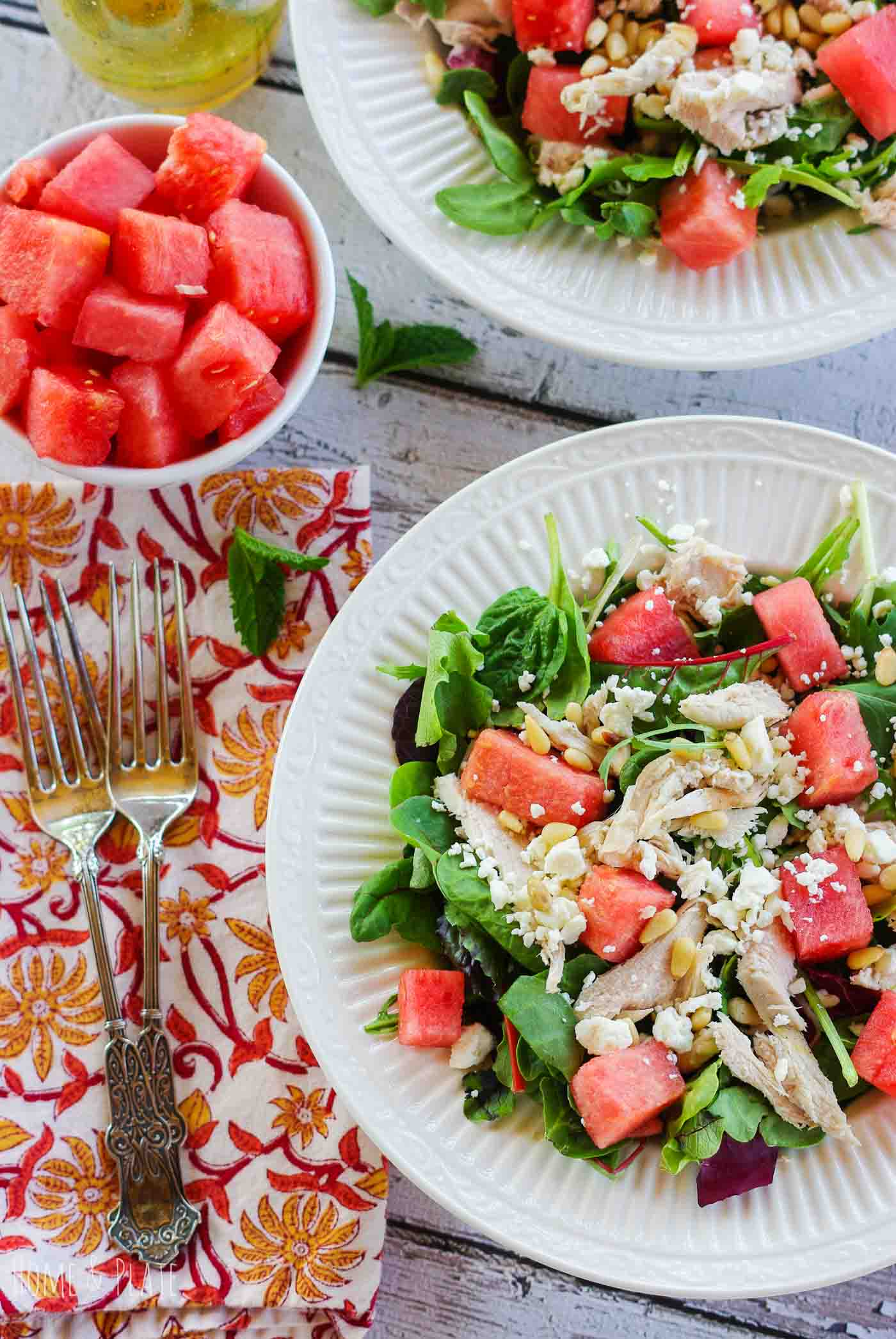 Healthy Summer Dinner Recipes -watermelon chicken feta salad