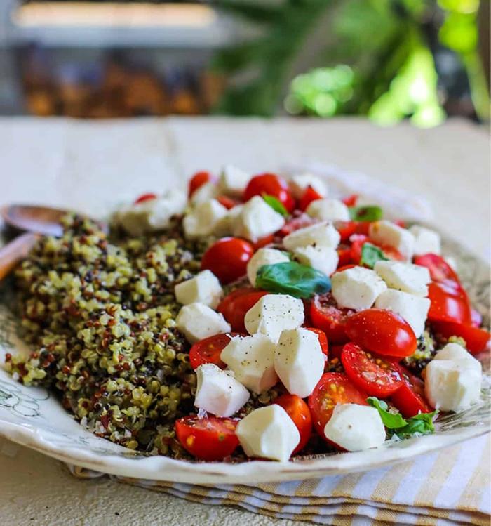 quinoa with mozzarella basil and tomatoes