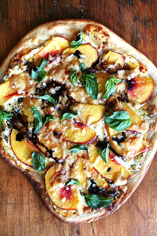 Fresh Summer Dinner Recipes | Nectarine Pizza with Fresh Basil and Reduced Balsamic