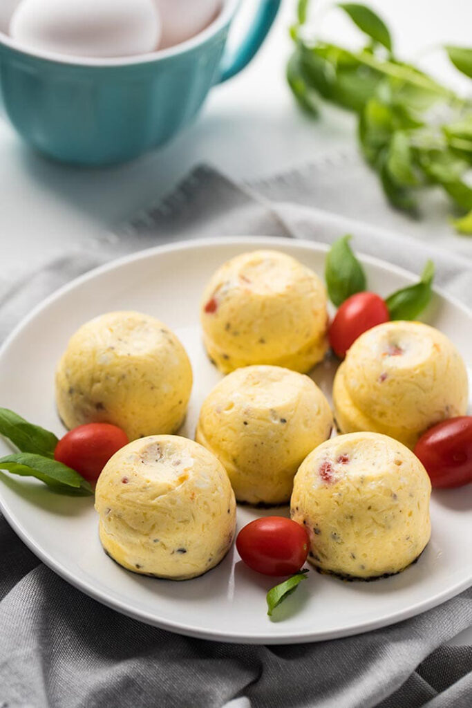 caprese egg bites made in an instant pot