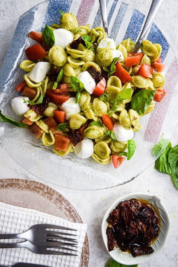 tomato mozzarella and basil with pasta