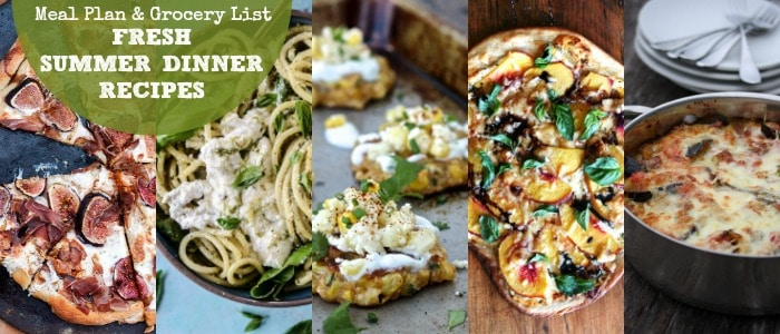 Meal Plan & Grocery List Fresh Summer Dinner Recipes Rainbow Delicious