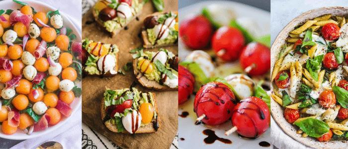 four differe unique caprese salads
