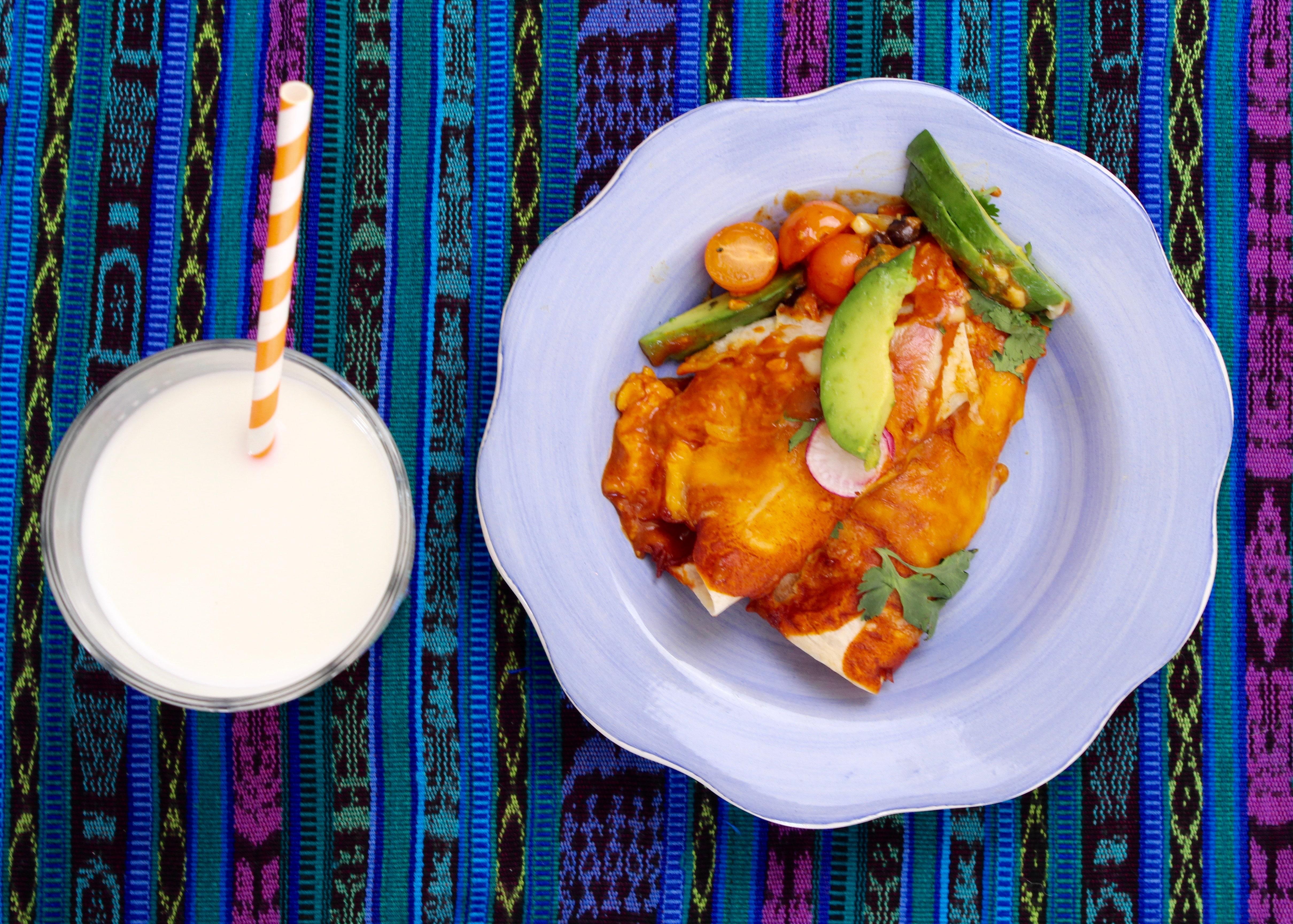 Zucchini Corn Poblano Vegetarian Enchilada Recipe gotmilk