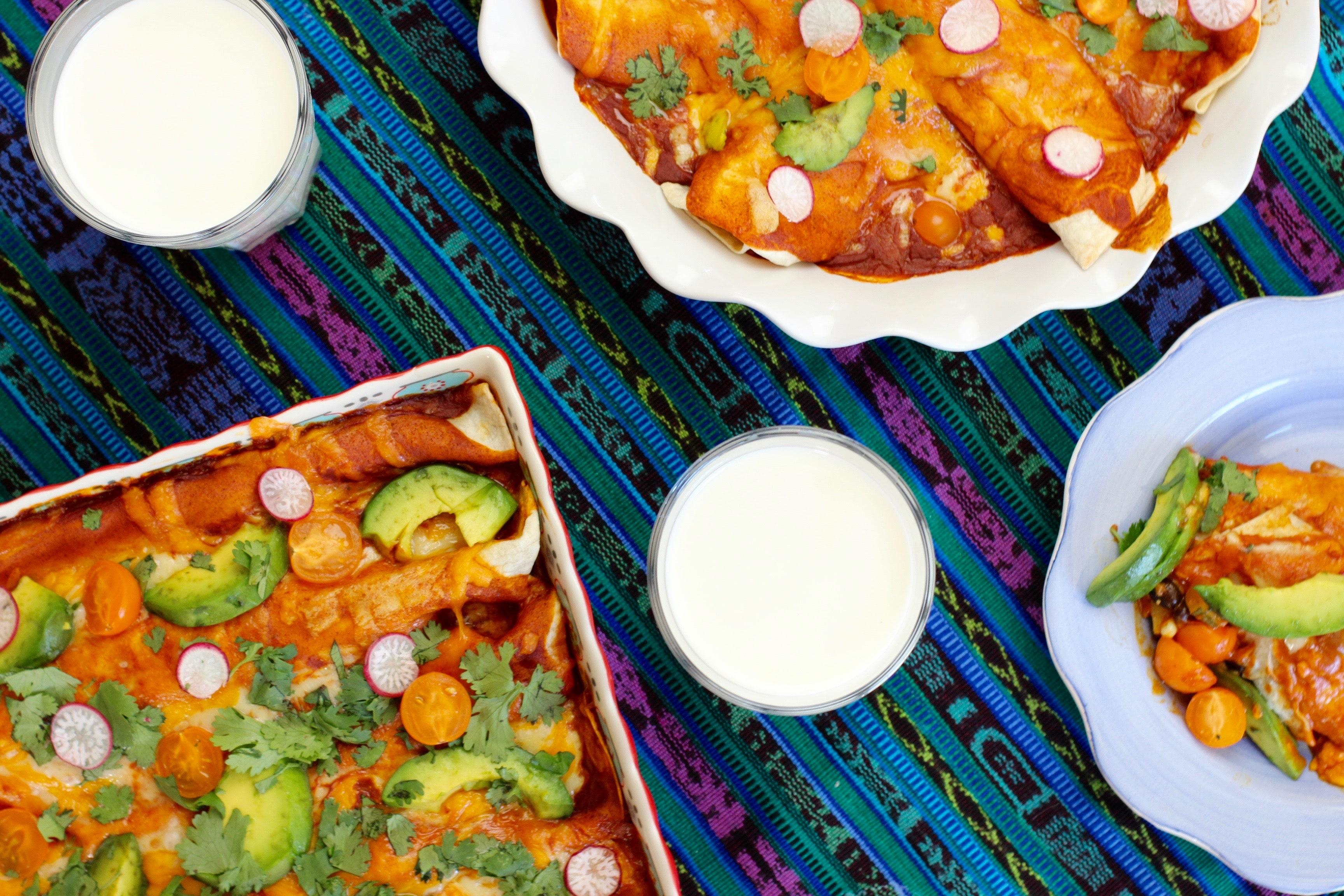 Zucchini Corn Poblano Vegetarian Enchilada Recipe