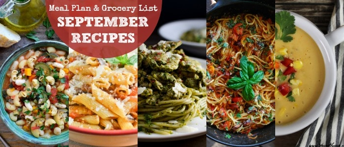 Meal Plan & Grocery List September Recipes