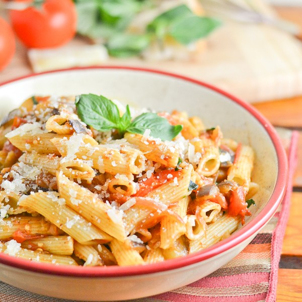 September Recipes Penne with Eggplant Tomato Basil