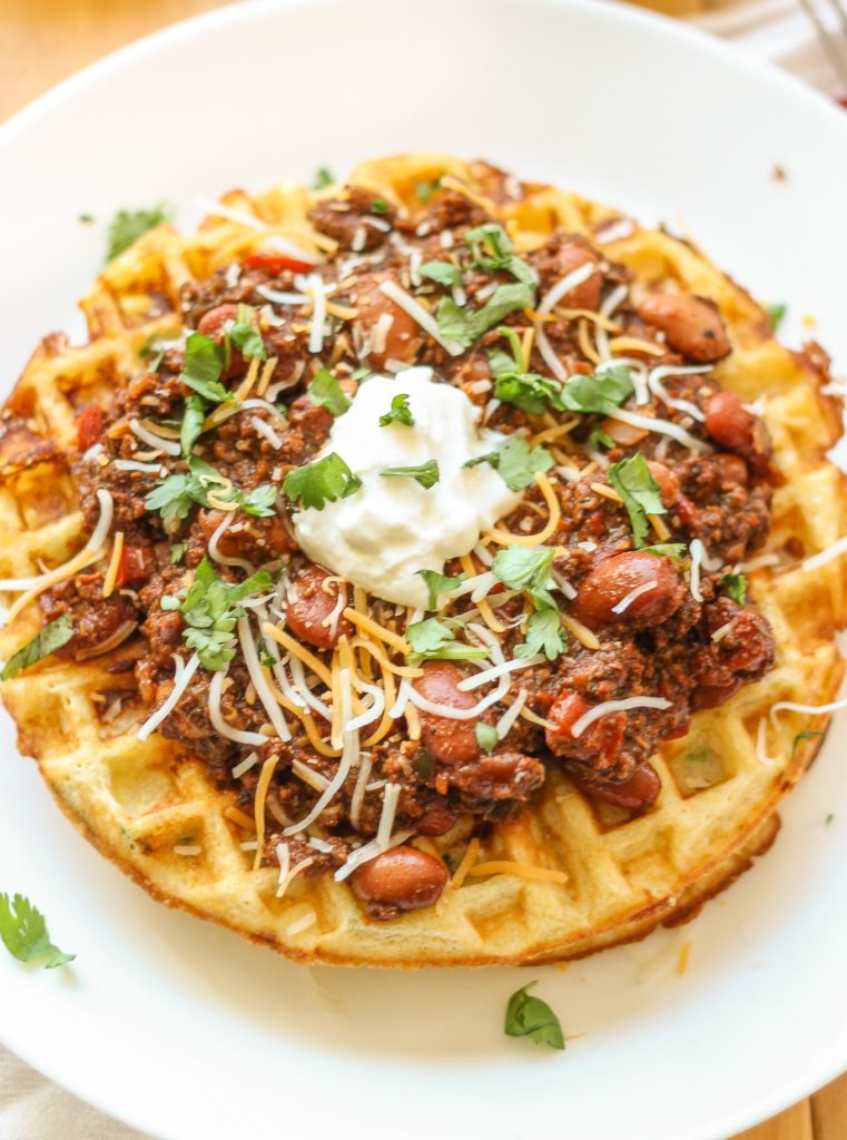weeknight recipes chorizo chili jalapeno cornbread waffles