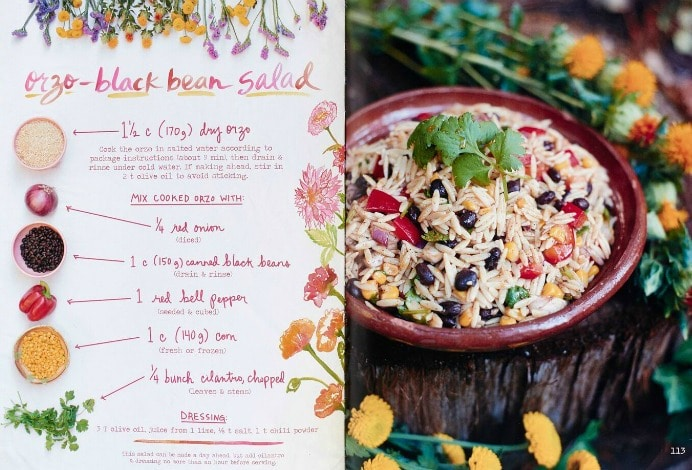 A Week of Simple Vegetarian Recipes from The Forest Feast orzo black bean salad