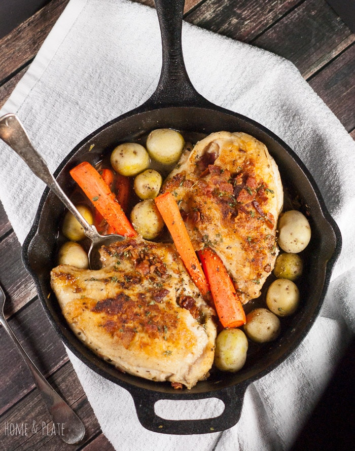 Fall Dinner IDeas Meal Plan cast iron skillet roasted chicken breasts with carrots potatoes