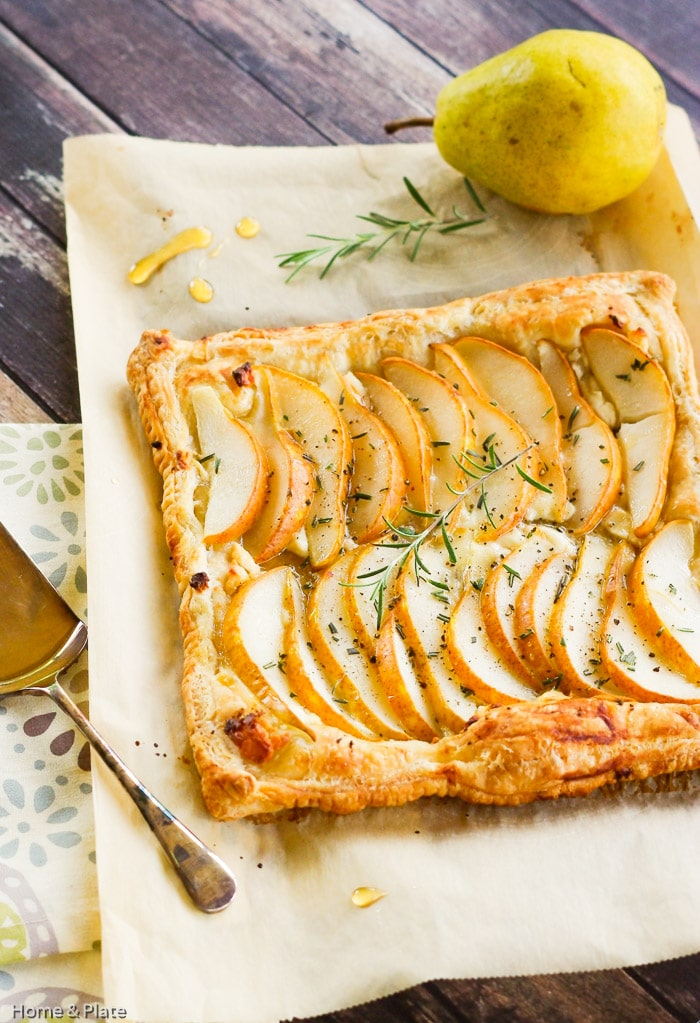 Fall Dinner IDeas Meal Plan pear tart with goat cheese rosemary honey