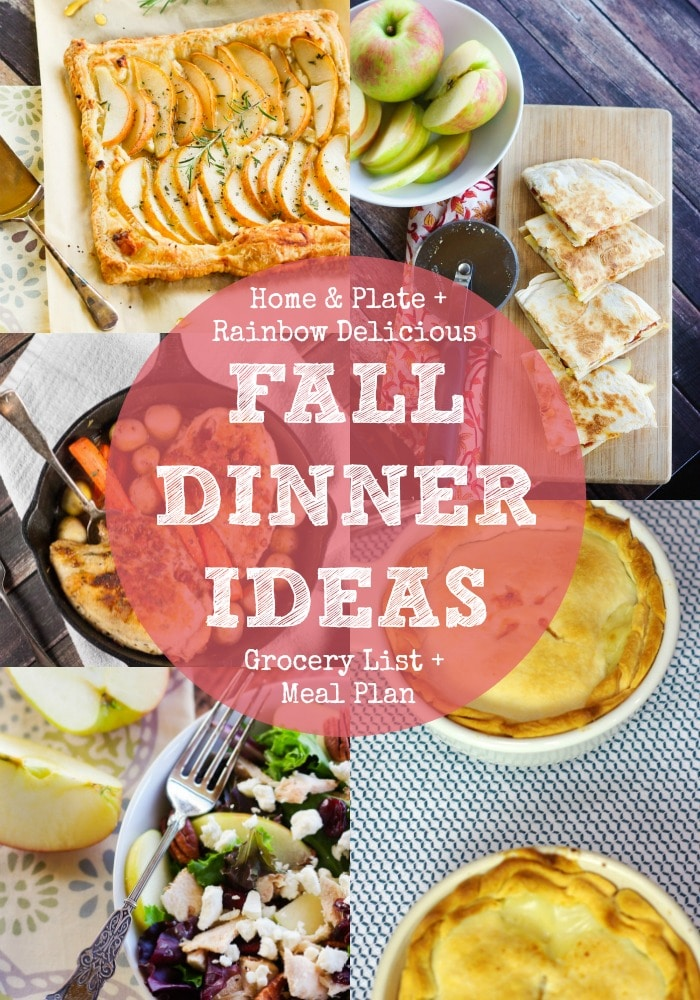 Fall Dinner Ideas Meal Plan with Home and Plate  Rainbow Delicious