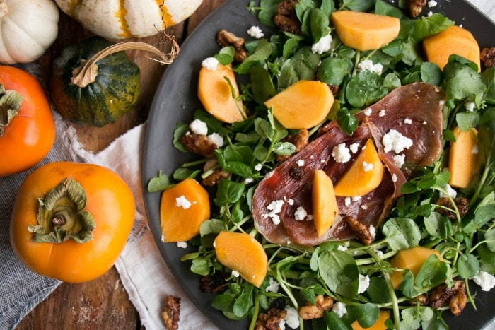 Healthy Weekly Meal Plan Persimmons and Watercress Salad with Candied Walnuts and Goat Cheese