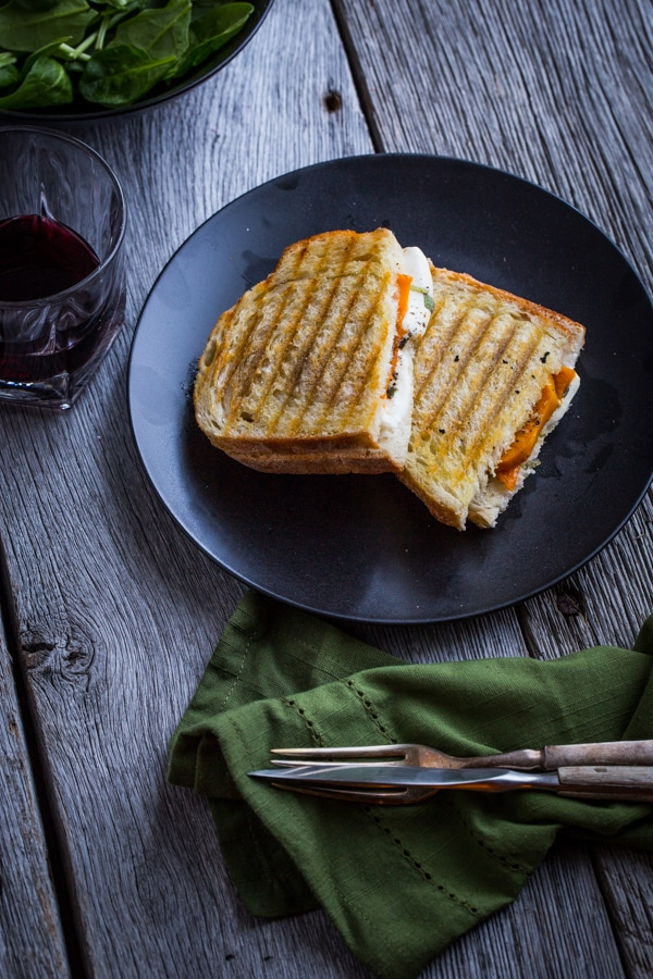 Butternut Squash Vegetarian Recipes Meal Plan featuring Oh My Veggies- Roatsted Butternut Squash Panini Recipe with Mozzarella and Sage