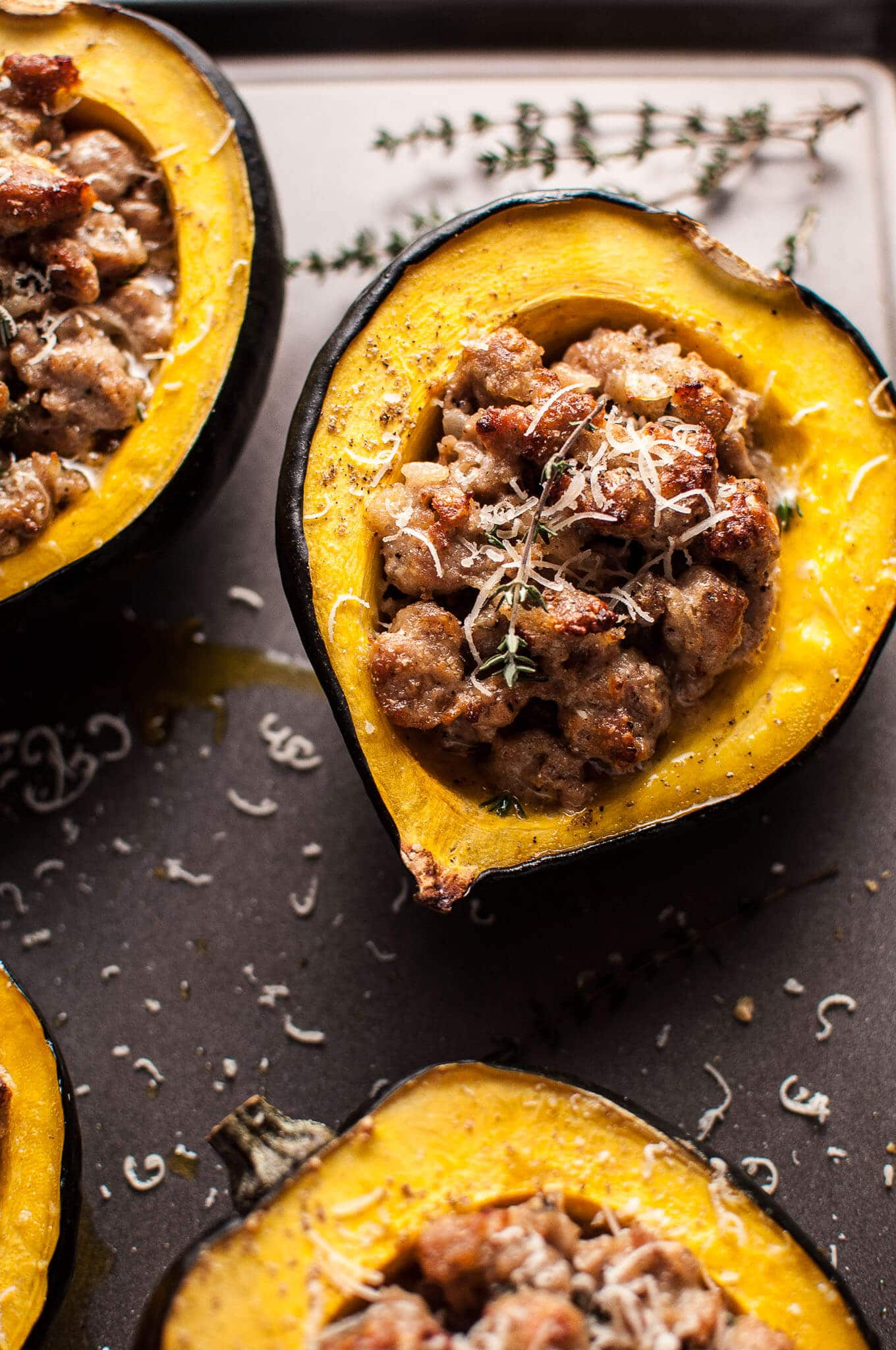 Fall Dinner Recipes Meal Plan featuring Salt & Lavendar | Sausage Parmesan Stuffed Acorn Squash
