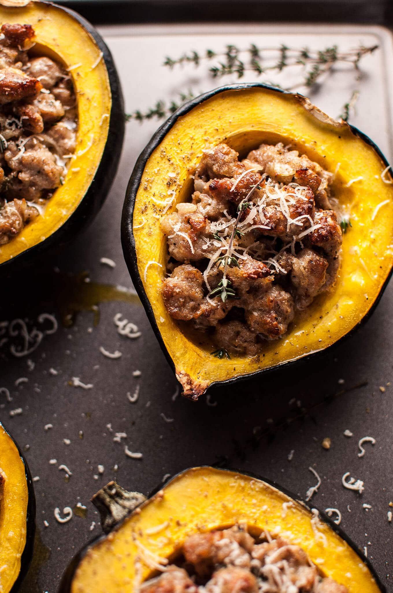 Fall Dinner Recipes Meal Plan featuring Salt & Lavendar | Sausage Parmesan Stuffed Acorn Squash