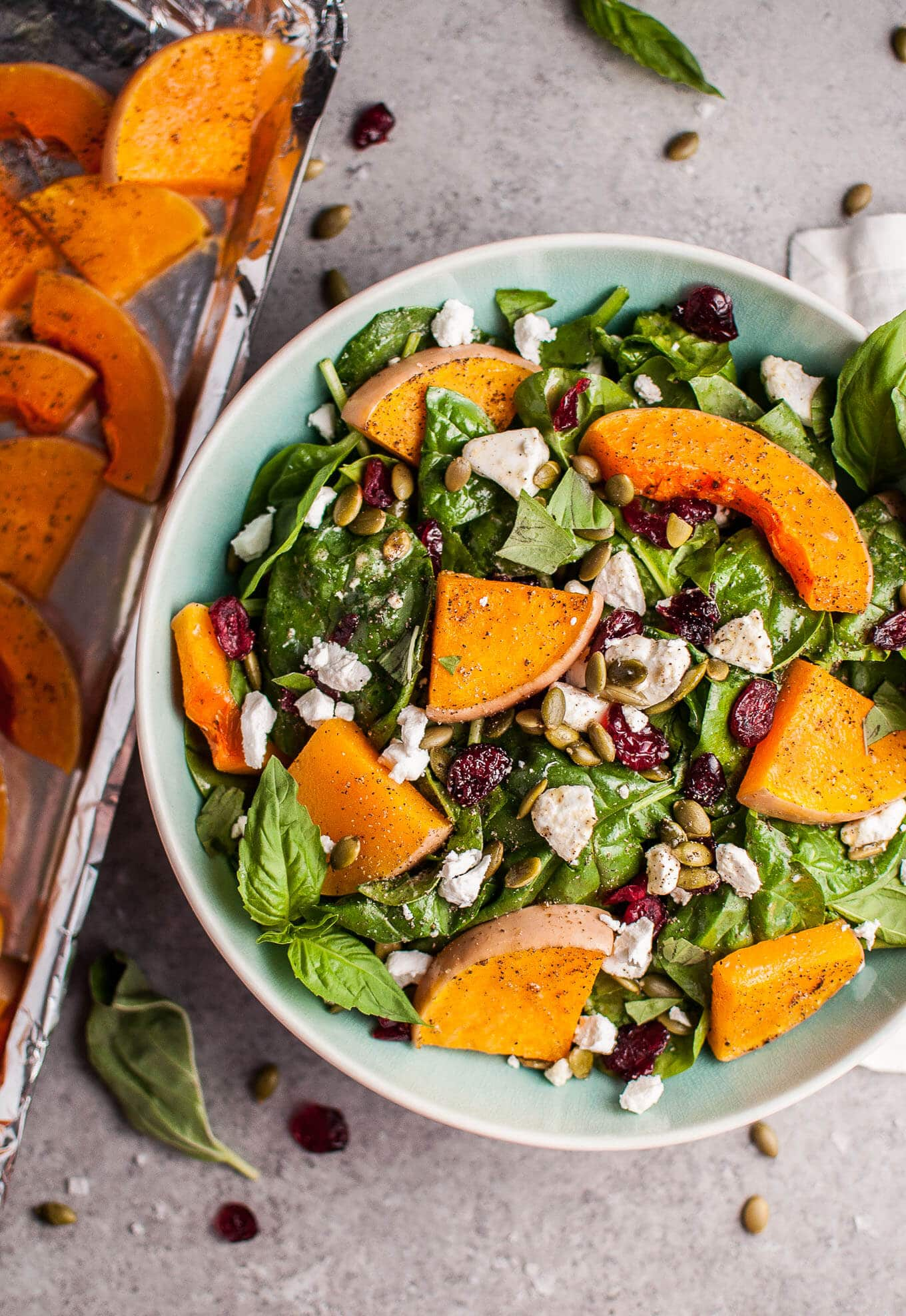 Fall Dinner Recipes Meal Plan featuring Salt and Lavendar | Roasted butternut squash spinach salad with goats cheese