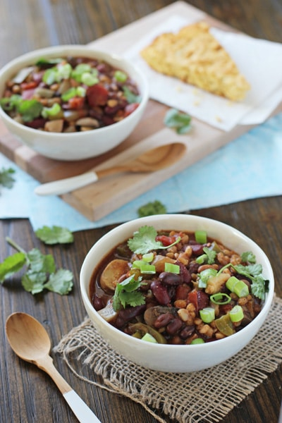Healthy Vegetarian Crockpot Recipes Meal Plan from Cook Nourish Bliss crockpot vegetarian chili with farro