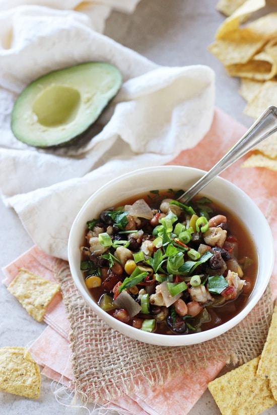 Healthy Vegetarian Crockpot Recipes Meal Plan from Cook Nourish Bliss slow cooker vegetarian tortilla soup