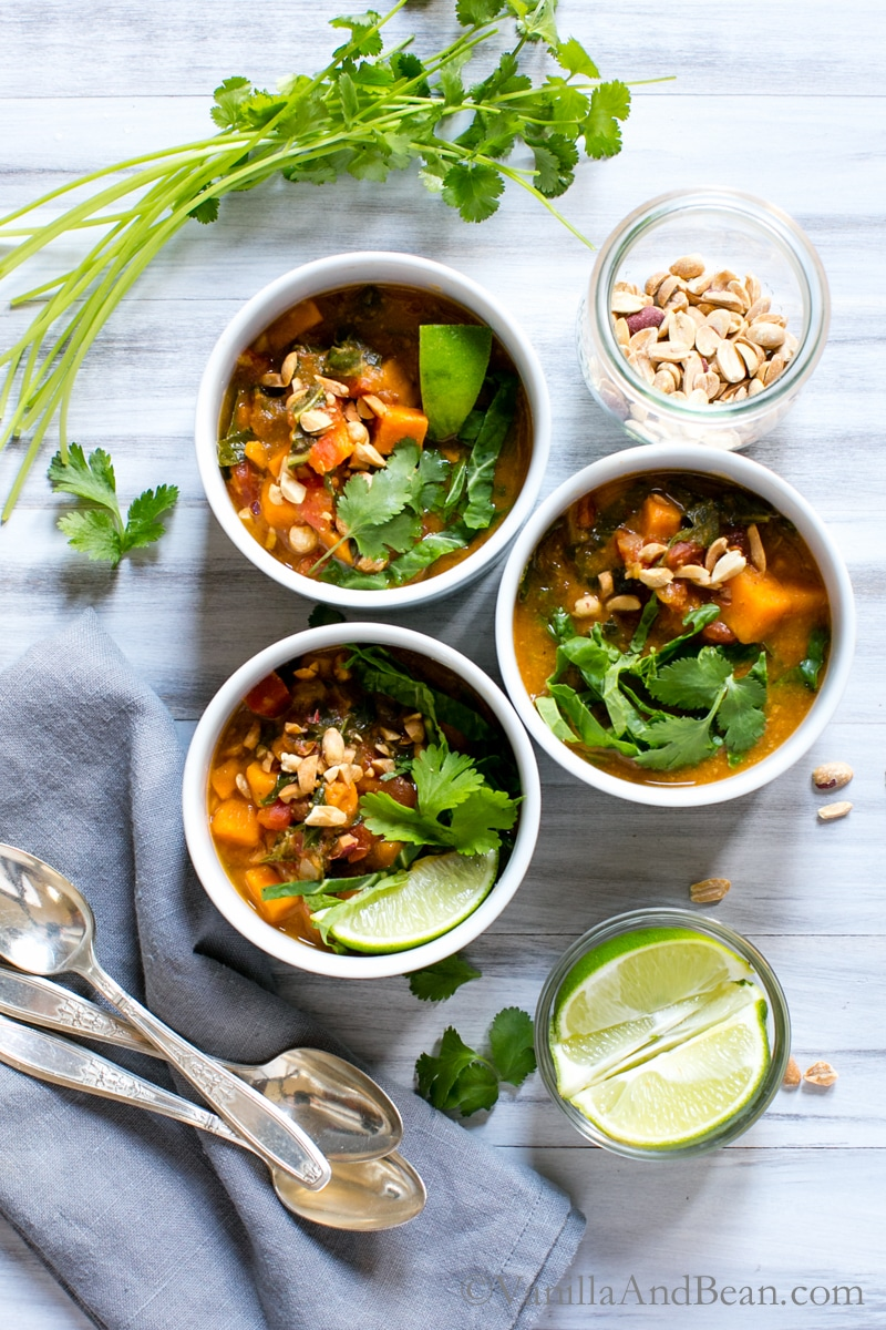 Healthy Vegetarian Recipes Meal Plan with Vanilla and Bean Sweet Potato Peanut Chipotle Soup with Wilted Greens